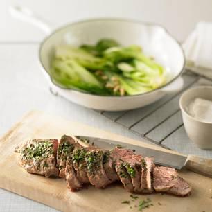 Lammrücken, Pak-Choi und Ricotta-Creme