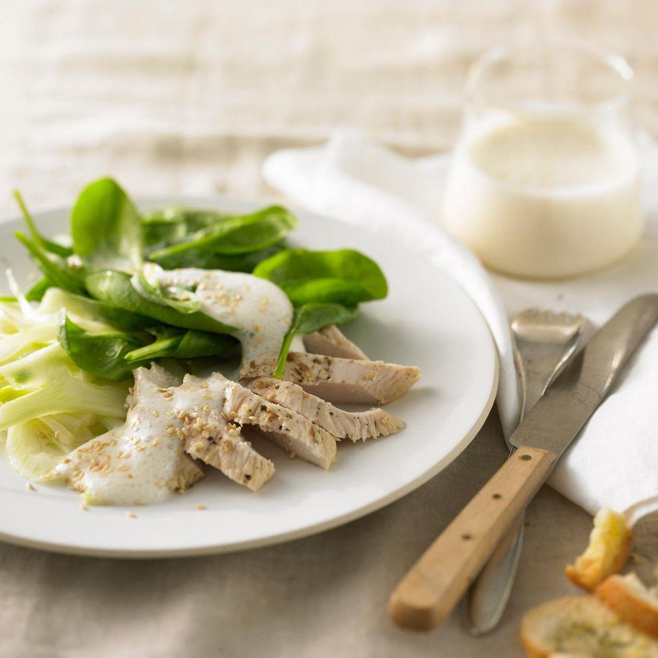 Hähnchenbrustfilet mit Spinat