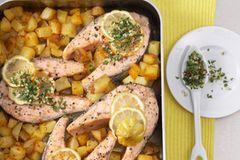 Lachs und Schmorkartoffeln aus dem Backofen