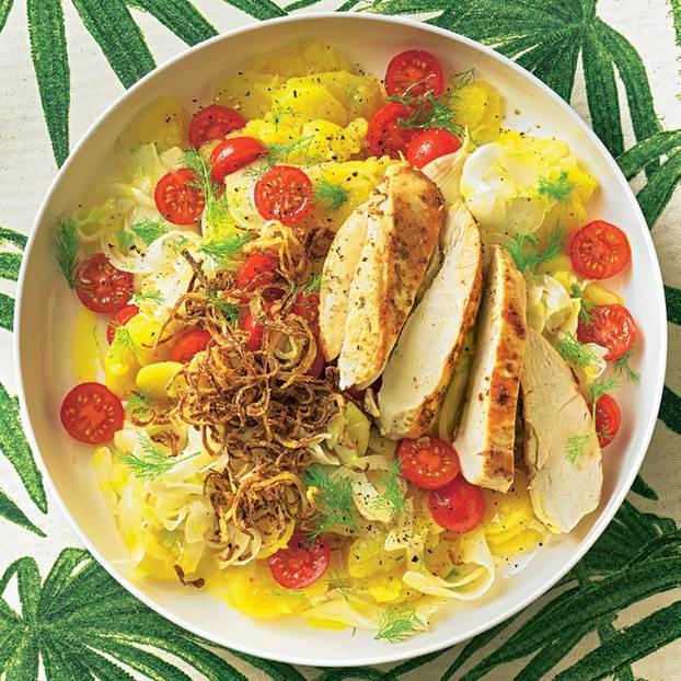 Kartoffelsalat mit Hähnchen