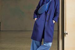 Vorher-Nachher: Blauer Mantel