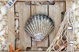 Basteln mit Muscheln: Holzschild mit Muschel, Seestern und Fischernetz beklebt