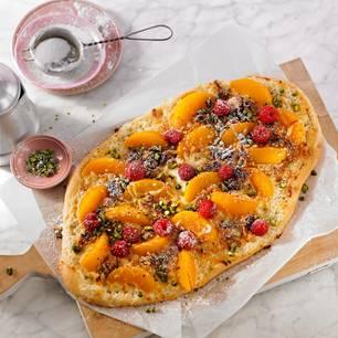 Pfirsich-Pizza