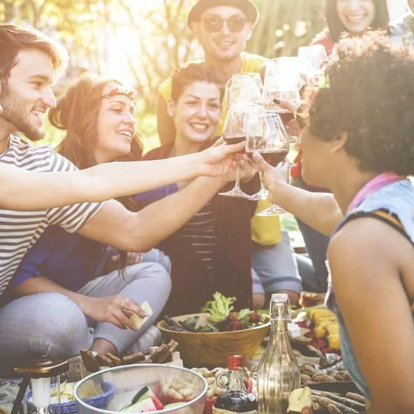 Was kann man sonntags machen? Freunde picknicken und stoßen mit einem Glas Wein an