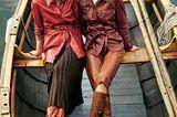 Modetrends Herbst/Winter 2019: Zwei Outfits mit erdfarbener Lederjacke und Lederhose