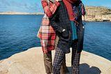 Modetrends Herbst/Winter 2019: Zwei Outfits mit Caro Wollmantel und Caro Tweedhose