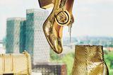 Herbst-Accessoires 2019: Goldene Schuhe und Tasche