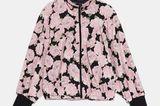 Bomberjacke mit auffälligem rosa Blumenprint