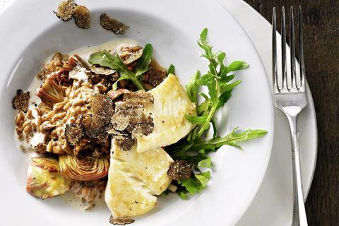 Dinkelrisotto mit Trüffel und gebratenem Fischfilet