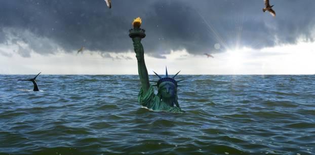 Klimawandel Freiheitsstatue überschwemmt