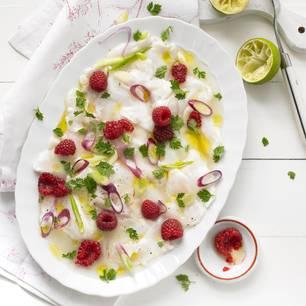 Ceviche von der Lotte mit Himbeeren und Limette