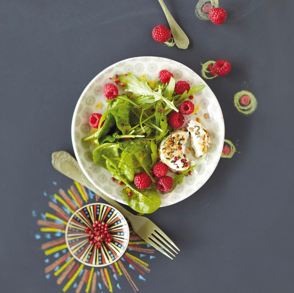 Spinatsalat mit Himbeeren