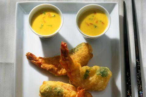 Garnelen mit Currysoße