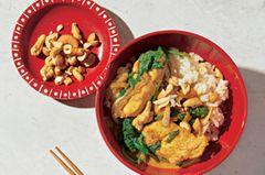 Curry-Hähnchenbrust mit Spinat