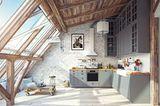 Küche mit großer Fensterfront, darunter Sitzecke
