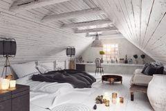 Dachgeschosszimmer mit einem Bett, Schreibtisch und Sitzbank