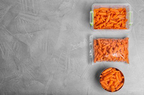 Möhren einfrieren: Möhren im Gefrierbeutel