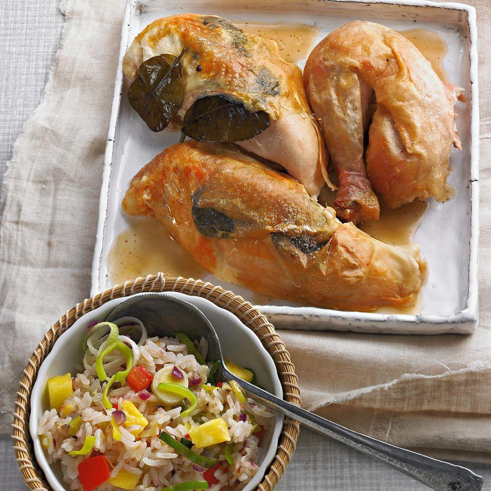 Thai-Huhn mit gebratenem Reis