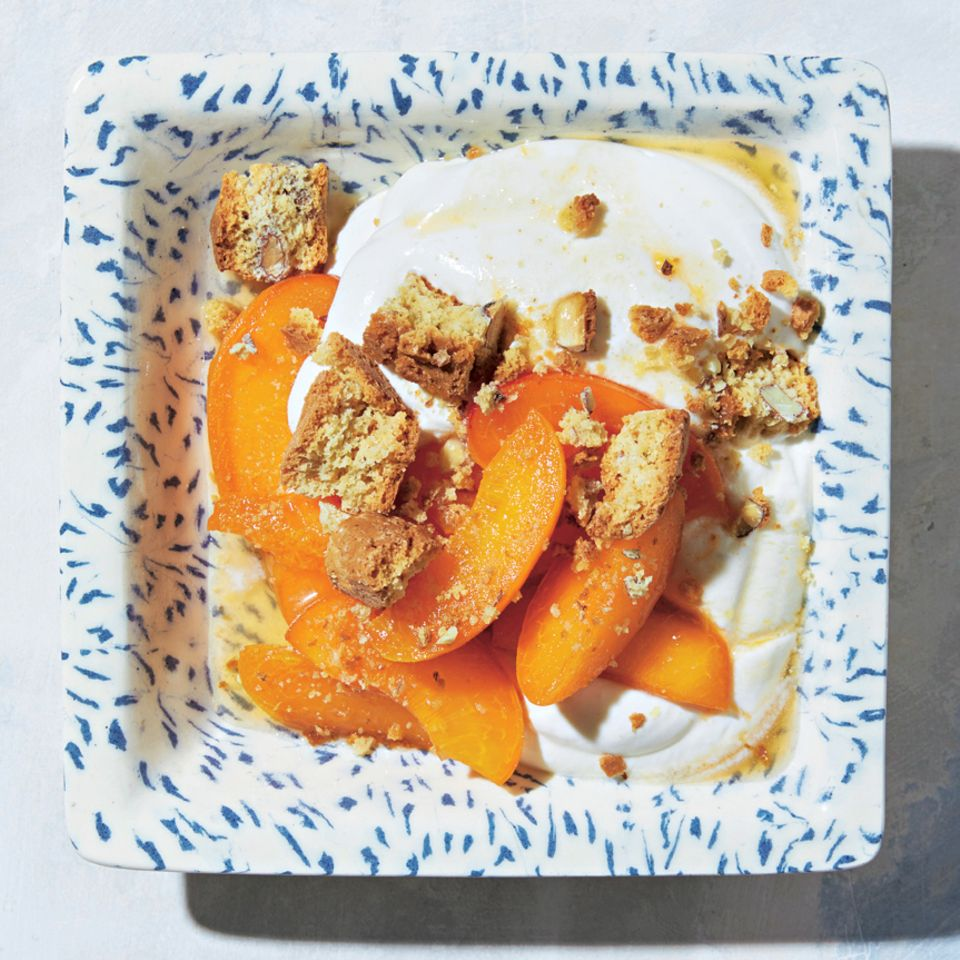 Aprikosen mit Ricotta-Creme
