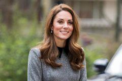 Kate in grauem Kleid