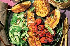 Geröstete Auberginen mit grüner Pekannuss-Soße