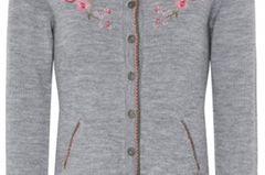 Dirndl-Trends 2019: graue Strickjacke mit Blumenbestickung