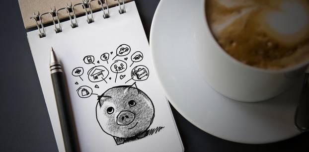 Money Queen: Sparschwein und Kaffee