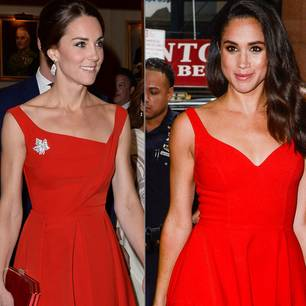Meghan Markle + Herzogin Kate: Kate Middleton und Meghan Markle in roten Kleidern