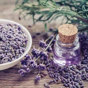 Lavendeldruck: Lavendelöl und getrockneter Lavendel