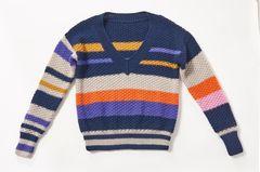 BRIGITTE Wollpakete 2019: Streifen-V-Pullover