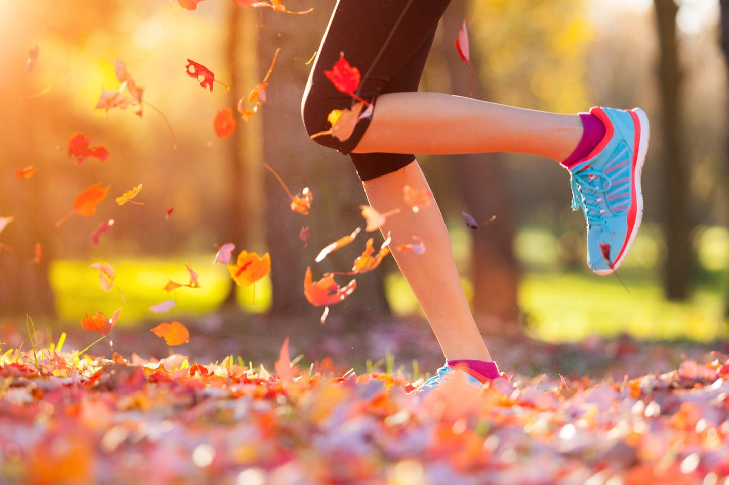 Sports in autumn: woman jogging