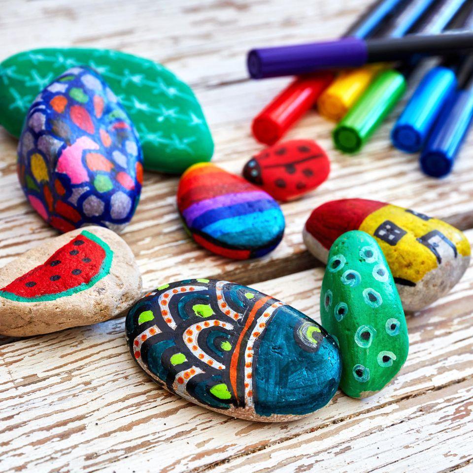 Malen mit Kindern: bemalte Steine