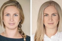 Gesichtsvergleich: Frau blickt in Kamera