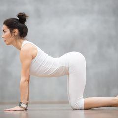 Übungen gegen ein Hohlkreuz: Frau in der Cat-Position