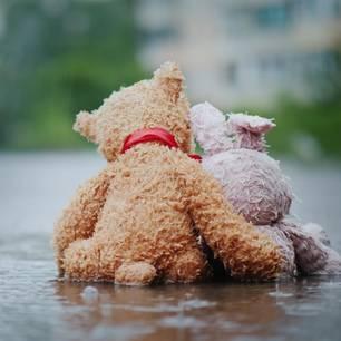 Trennung trotz Liebe: Zwei Teddys sitzen im Regen