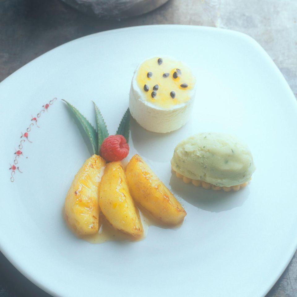 Ananas-Basilikum-Sorbet