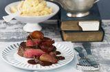 Rindermedaillons mit Portweinsoße und Bohnenstampf
