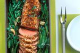 Rinderfilet mit Parmesankruste, Bohnen und Basilikum