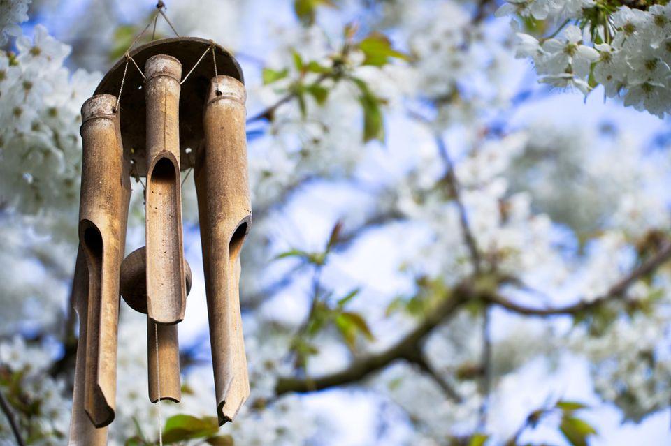 Windspiel basteln: Windspiel an einem Ast