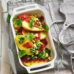 Überbackene Kartoffeln mit Lauchzwiebel-Stippe