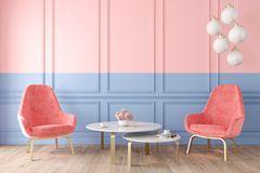 Wand streichen Ideen: Blau-rosafarbene Wand davor Sessel, Tisch und Lampe