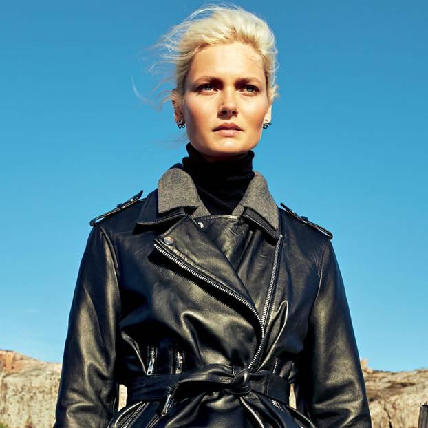 Outdoor-Looks 2019: Das sind die schönsten Trends: schwarze Lederjacke über Wollmantel