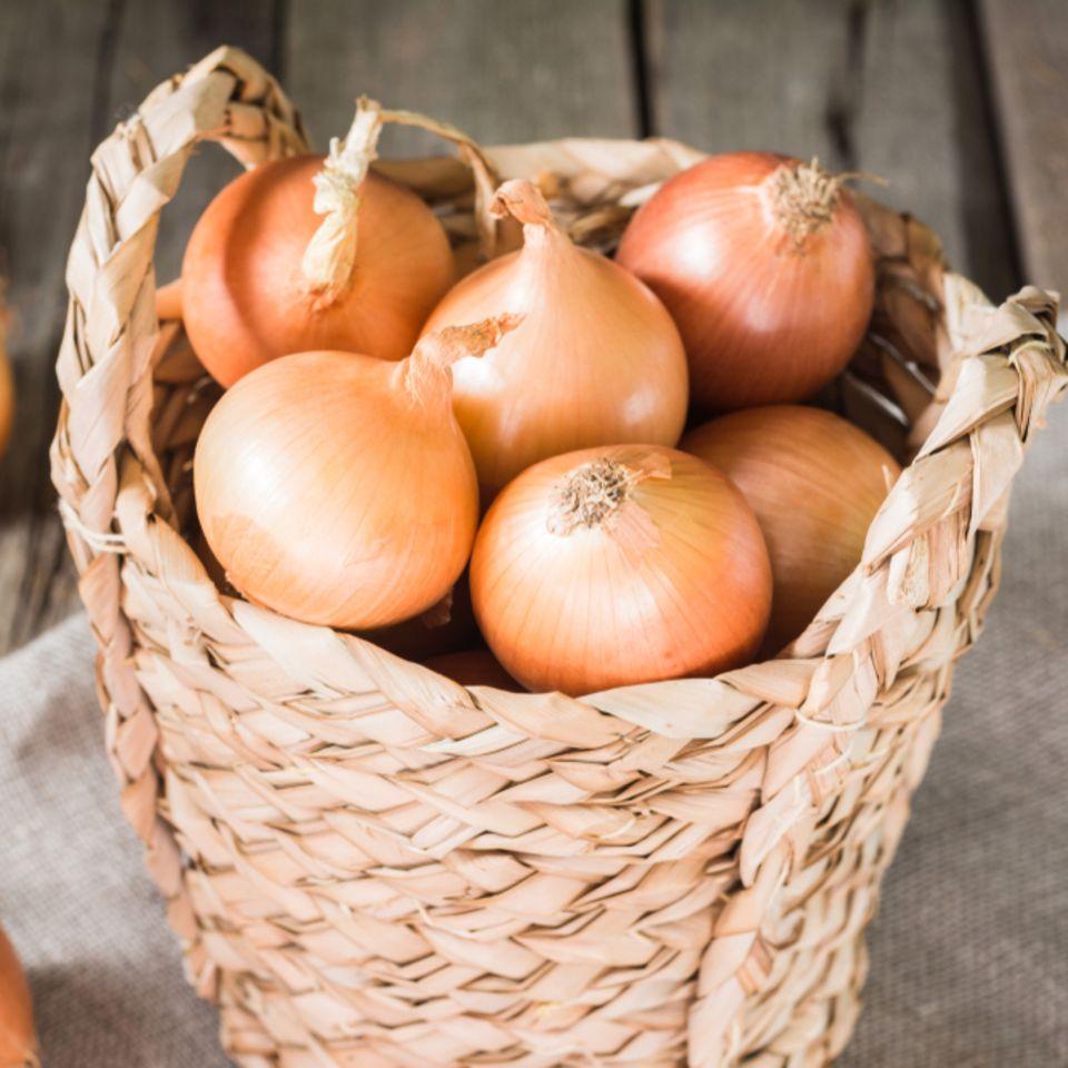 Zwiebel-Aufbewahrung: Zwiebeln in einem Korb