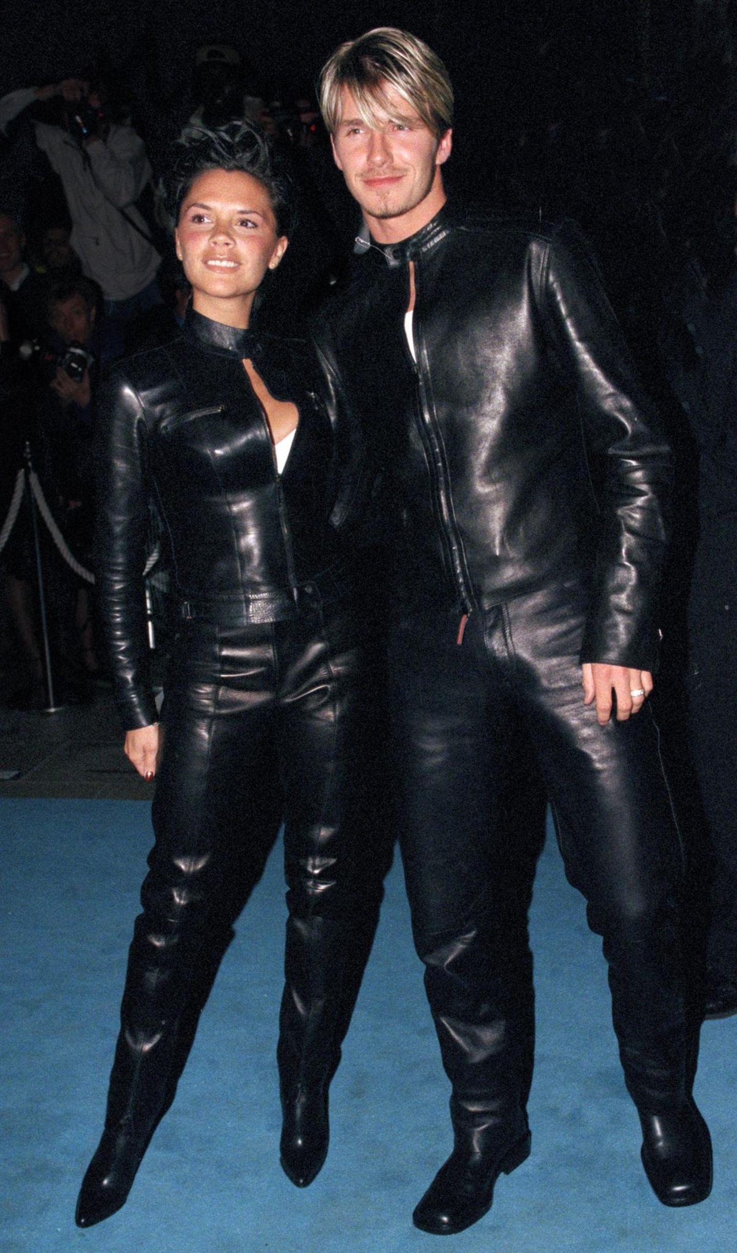 Stars im Partnerlook: Victoria Beckham und David Beckham im Leder-Outfit