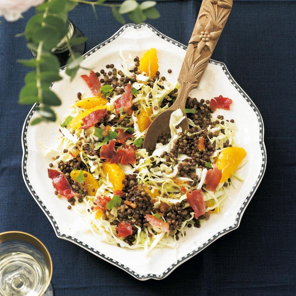 Spitzkohl-Linsen-Salat mit Orangen