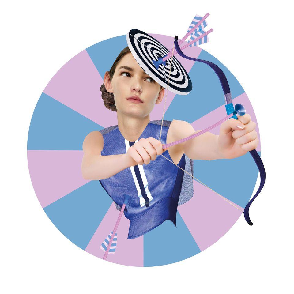 Jahreshoroskop Schütze: Frau mit Pfeil und Bogen