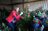 """... das schönste Accessoire schleppte Kate nur wenig später selbst aus dem Lager der Farm: einen Weihnachtsbaum, den sie zusammen mit den """"Mini-Weihnachtselfen"""" aussuchte."""