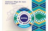 Was für ein schönes Projekt. Natürliche Pflege aus 100% reinerund fair gehandelter Sheabutter. Für gepflegte Haut, Haare und Lippen – und für ein besseres Leben der Shea-Sammlerinnen in Westafrika, denn NIVEA spendet für jedes verkaufte Produkt 1 Euro an soziale Mitarbeiter-Projekte in Burkina Faso. Von Nivea, um 9 Euro.