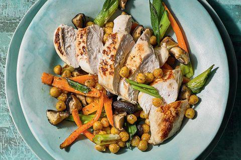 Huhn-Tagliata, Shiitake und Rahm-Salat