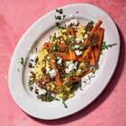 Steckrüben-Hummus mit geschmorten Feta-Möhren